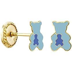 Www.diamants-perles.com-Pendientes, diseño de oro amarillo-9 quilates, diseño oso