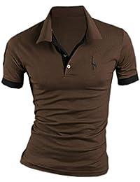 30cf9df0225b3 SOMTHRON Hombre Camisas de Polo de Manga Corta de algodón más el tamaño de  Manga Delgada Camisas de Golf y Tenis Informal Camisa…