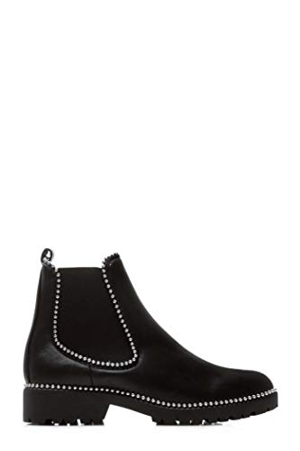 Masa 1 New Ladies Studded Low Heel Black Suede Black Matt Chelsea Boots