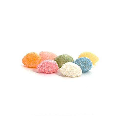 Finissimi cristalli di zucchero colorato ripieni di un soave rosolio analcolico agli aromi naturali di frutta. Ogni colore corrisponde al sapore di un frutto diverso: limone, arancia, banana, mela verde, ciliegia, fragola, albicocca. Una piacevole se...