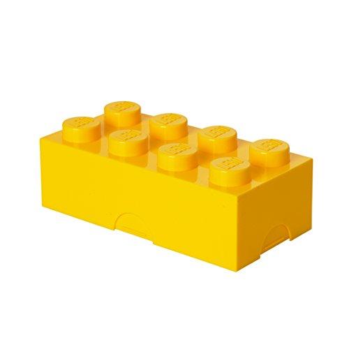 Contenitore Portavivande Lego a 8 Bottoncini, Piccolo Contenitore o Portamatite, Giallo