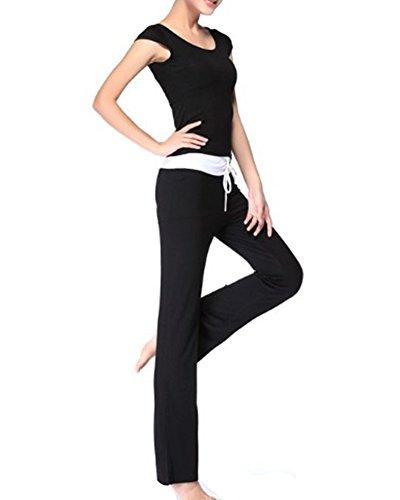 Donna Tute Sport Fitness Yoga Danza Maglietta E Yoga Pilates Pantaloni Nero