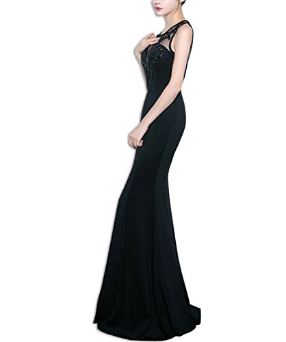 KAXIDY Damen Elegant Ärmellos Spitze Brautjungfernkleid Abendkleid Lang Abendkleider Festkleider Schwarz