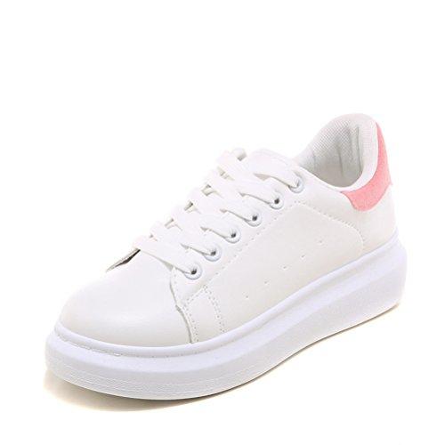 Senhoras Verão Dedos Redondos Brancos Simples Colorido Calcanhar Planalto Modernos Laços Planas Tênis Ao Ar Livre Sapatilhas Rosa