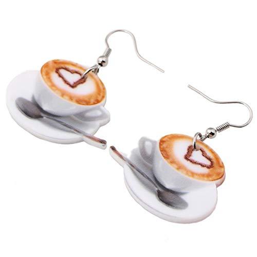 ZHENZHIA Ohrring Leichtes flaches großes Herz in den Kaffeetasse-Nahrungsmittelohrringen für Frauen-Mode-Accessoire-Acryldruck-Schmuck