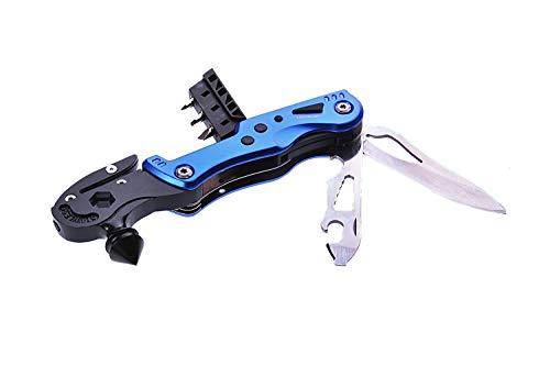 Huntington Multifunktionswerkzeug Sicherheitshammer für das Auto, 12 Funktionen, Farbe: Blau, Mod. MS011-02