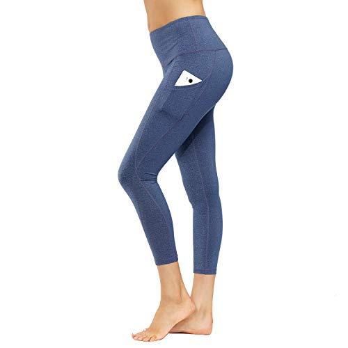 HMIYA Damen Leggings, Lang Frauen Sporthose Yogahose Laufhose Fitnesshose(Blau Lila,M)