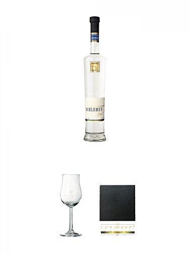 Lantenhammer Schlehengeist 0,5 Liter + Lantenhammer Bouquetglas geeicht 1 Stück + Schiefer Glasuntersetzer eckig ca. 9,5 cm Durchmesser