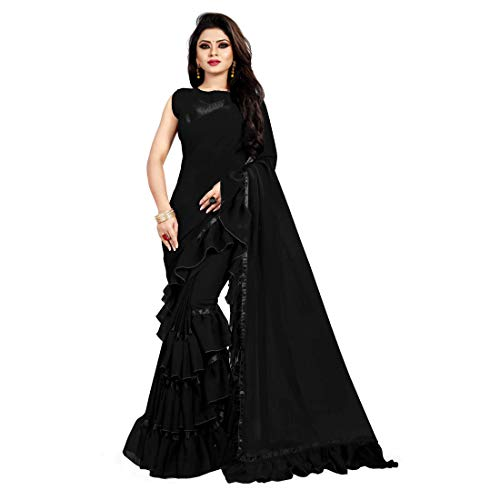 Bigben Textile Georgette Solid Ruffle Saree With Blouse Piece (Black)
