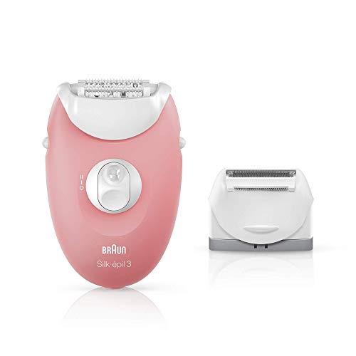 Braun Silk-épil 3 SE 3-440 Starter 3-in-1 Haarentfernung, Epilierer, Rasierer, Massagerollenaufsatz, weiß/flamingo