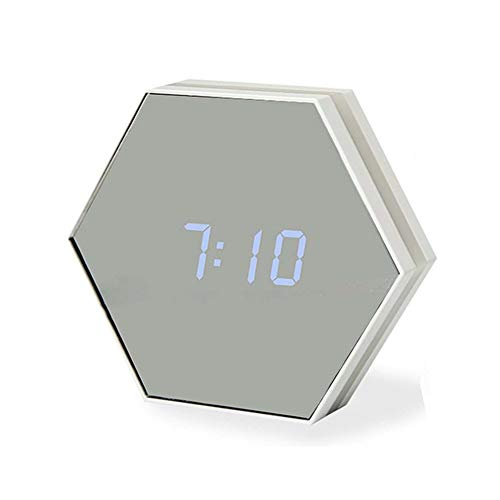 QWER Multifunktionsspiegel-Wecker Wieder aufladbares tragbares intelligentes geführtes Digital mit Zeit- / Wecker- / Temperatur-Anzeigeschreibtisch oder Raum,Black
