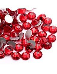 YOYOLE Siam 1440 Stück/Beutel, rote Flache Rückseite, Glas-Strasssteine zum Kleben von Fingernägeln mit rotem Kristall, glänzende, Nicht Hotfix, Flache Rückseite, Strass-Dekorationen für Nägel ss12