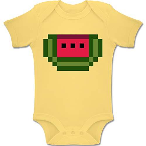 Kostüm Kindergarten Babys Nerd - Shirtracer Karneval und Fasching Baby - Pixel Melone - Karneval Kostüm - 6-12 Monate - Hellgelb - BZ10 - Baby Body Kurzarm Jungen Mädchen