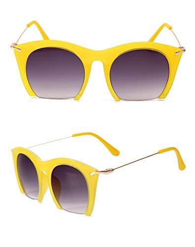 Sonnenbrille,Classic Design Frauen Die Hälfte Frame Cat Eye Sonnenbrillen Sonnenbrillen Männer Fahren Vintage Mode Sonnenbrille Uv400 Gelb
