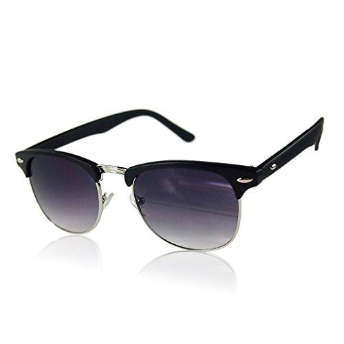Vintage Mode-Retro Halbbild Halbrand UV400 übergroße Sonnenbrille Matte Black