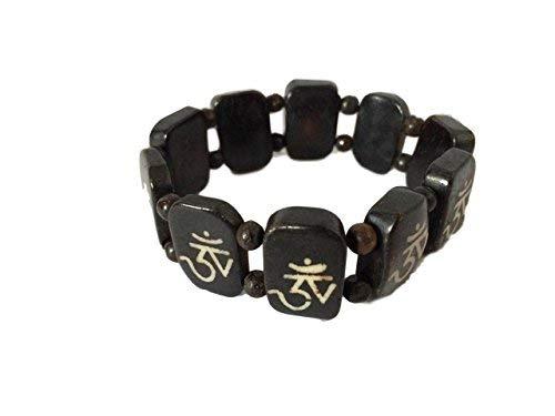 Hände von Tibet Geschnitzt Antik Yak Knochen Armband mit acht verheißungsvollen Symbole - Hand Geschnitzt Antik