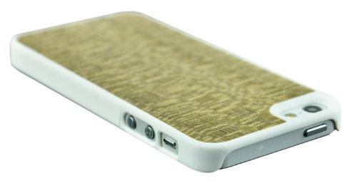 SunSmart Coque en bois et cuir pour Apple iPhone 5/5S/5C avec pied de maintien vertical Marron foncé Lacewood-bords blancs