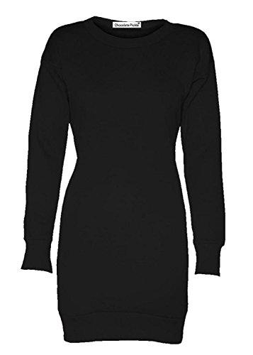 Damen Langarm-Sweatshirt, Fleece Pullover Minikleid 8-22 Schwarz - Schwarz