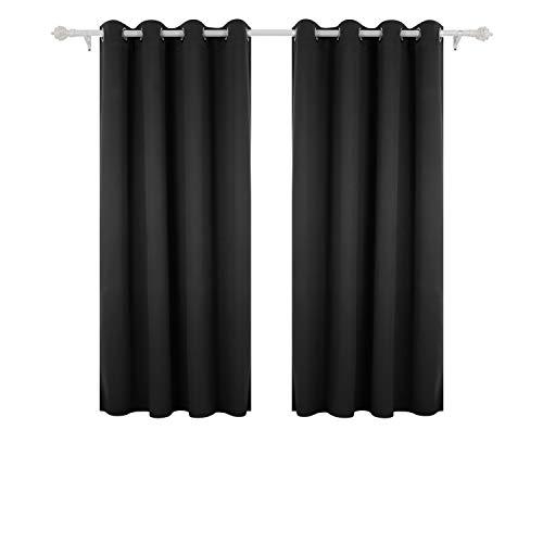Deconovo Lot de 2 Rideaux Occultants à Oeillet Rideau Isolant Thermique Rideau Occultant pour Salon 132x160cm Noir