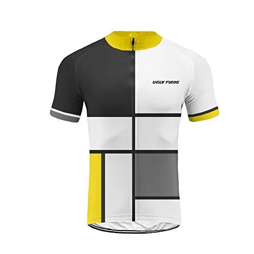 Uglyfrog Bike Wear-Promi Plaid-Malerei Design Herren Fahrradtrikot Slim Fit Kurzarm Fahrrad MTB Shirt Einen.Kreislauf.Durchmachenausrüstung