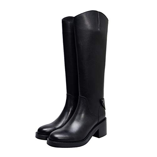 QPDUBB Ankle boots Motorcycle Boots Women Knee High Boots Round Toe Cow Leather Shoes Female Party High Heels Shoes Ladies Winter