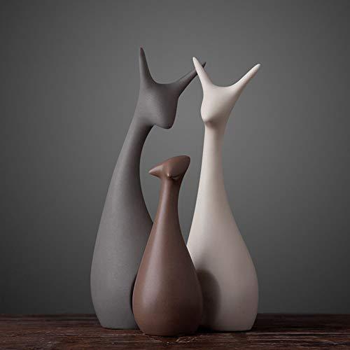HPYRJ Nordic Ceramic Crafts Ornamente Wohnaccessoires Creative Home TV-Schrank Ceramic Crafts Dekorative Warme Möbel Deer Furnishings,A -