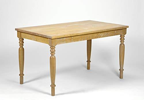 Naturholzmöbel Seidel Esstisch Linda Antigo 140x80cm, Pinie Massivholz Tisch Honig, Tischbeine...