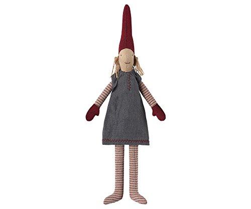 (Maileg–Danish lisvs Pixy 2017–Mini 30cms–'Elf auf einem Regal'–Mädchen–Grau Kleid)