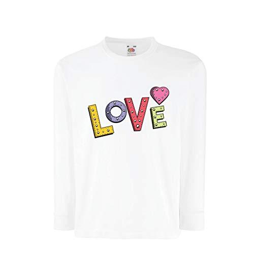 lepni me T-Shirt Bambini/Ragazze Amore, Cuore di San Valentino, Retro Segno  (5-6 Years Bianco
