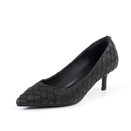 aletten, Sexy mit High Heels, Spitze High Heel 2,1 Zoll Kunstleder Komfortable Atmungsaktive Elegante Einzelne Schuhe Sommer, Black,39 ()