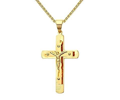 Vnox Collier pendentif croix crucifix Jésus-Christ plaqué or en acier inoxydable 18K avec chaîne libre - 18k Crocifisso