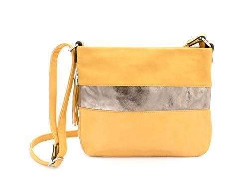 Bolso amarillo mostaza cruzado para mujer