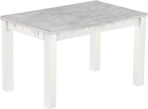 Brasilmoebel Esstisch Rio Classico 130 x 80 cm - Pinie Massivholz Farbton Beton - Weiß - in 27 Größen und 50 Farben - über 1000 Varianten -...