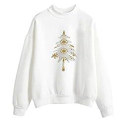 OverDose Damen Frohe Weihnachten Frauen Weihnachtsmann Drucken Tägliche Party Active Langarm-Überraschung Sweatshirt Pullover Tops Bluse Shirt Outwear(Y-Weiß3,38 DE/M CN)