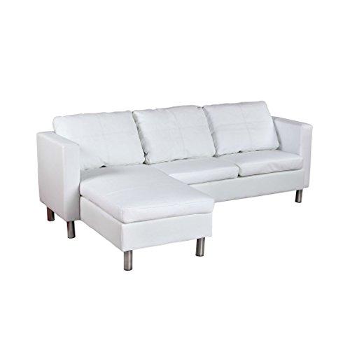 Vidaxl divano componibile a 3 posti in pelle bianco angolare sezionabile sofa