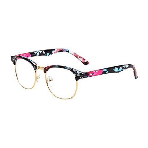 Haodasi Fashion Half Rim rétro cadre clair lentille lunettes Floral