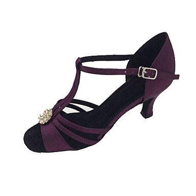 XIAMUO Nicht anpassbar - Die Frauen tanzen Schuhe Satin Satin Latin/Salsa Sandalen Stiletto HeelPractice/Anfänger/Professional/Innen-/ Lila