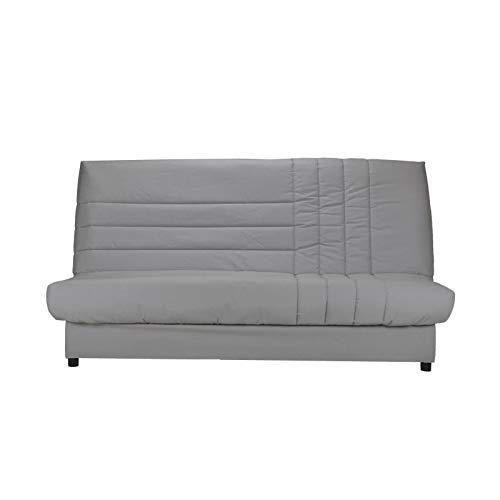 BEIJA Banquette clic-clac 3 places avec matelas BULTEX - Tissu 100% coton gris - Style contemporain - L 192 x P 95 cm