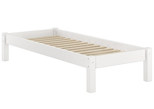 Erst-Holz® Weisses Futonbett ohne Kopfteil Kiefer massiv 90x200 Bettgestell mit Rollrost 60.35-09 W - Kiefer Bettgestell
