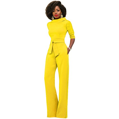 2c9c57d6f9b Blazar Damen Elegante Jumpsuit Lang Weites Bein Overalls Hoher Taille  Spielanzug mit Gurt Halbe Hülse Business
