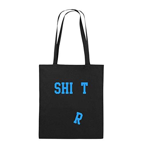 Comedy Bags - SHIRT - FALLENDES R - Jutebeutel - lange Henkel - 38x42cm - Farbe: Schwarz / Silber Schwarz / Blau