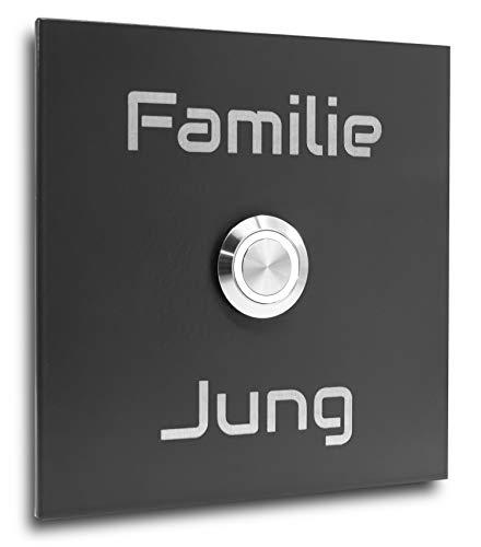 Jung-Edelstahl-Design Klingelplatte Bochum 7 anthrazit Ral 7016 Türklingel mit LED weiß Klingel mit Gravur Klingelschild 10x10 cm