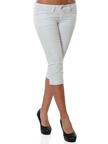 Damen Jeans Kurze Sommer Hose Bermuda Push-Up No 15908, Farbe:Weiß, - Denim Frauen Bekleidung Für