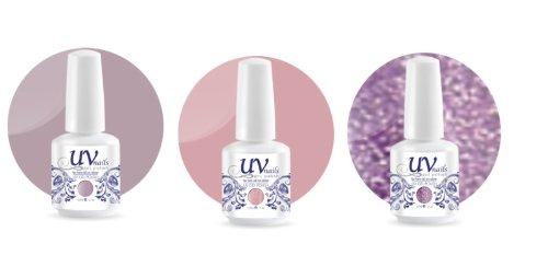 UV-Nails Soak-Off Gel Set Purple Rain (221,209,210) 2 Vernis a Ongles & 1 Vernis Paillettes 15ml + Aviva Polissoir a ongles