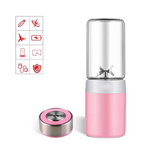 WMWZ Tragbare Blender Personal Mini Juicer mit 300ml Kapazität, USB-Schnittstelle & wiederaufladbare und 4 PCS-Klingen für die Reise im Freien, 304 Stainless Steel,Pink (Die Blender-klinge)