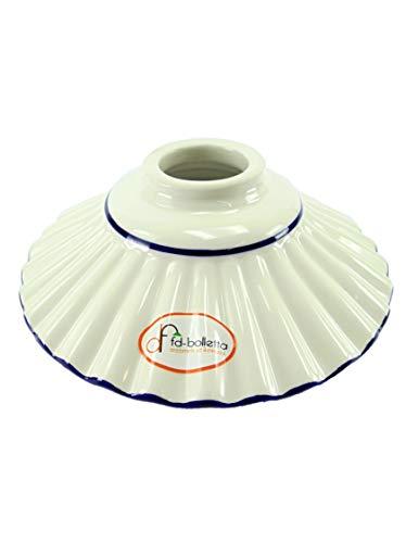 Ersatz-Lampenschirm für Lampen aus Keramik, Messing und Eisen, mit braunem Rand im Jugendstil, Höhe: 5,5 cm, Durchmesser des Tellers: 19 cm, Durchmesser der äußeren Öffnung: 5,5 cm Rand Teller