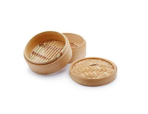 H&H Cuocivapore, Cestello per Cottura a Vapore, 2 Livelli, con Coperchio, bambù