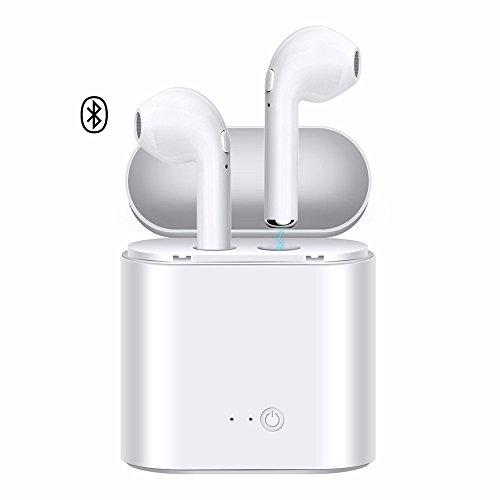 RASCJ Bluetooth Kopfhörer, i7 TWS Ohrhörer Kopf Telefon für Apple iPhone und Samsung und Android Handys, V4.2 in-Ear Stereo Ohrhörer 2PC Headset, Bluetooth Sport Headsets mit Ladekoffer… (Bluetooth-telefon Apple)