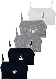 LOREZA ® 5 Sujetador Bustier para Niñas Ropa Interior Piedras Preciosas Camiseta de Tirantes - Algodón - 10 a