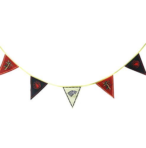 [3.1M y 12PCS] Juego de Tronos Casa Banner, Juego de Tronos Casa de Carteles, Banderas Pared para la decoración Bar House Party